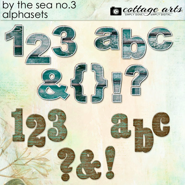 By The Sea 3 Alphasets Digital Art - Digital Scrapbooking Kits