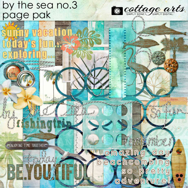 By the Sea 3 Page Pak Digital Art - Digital Scrapbooking Kits