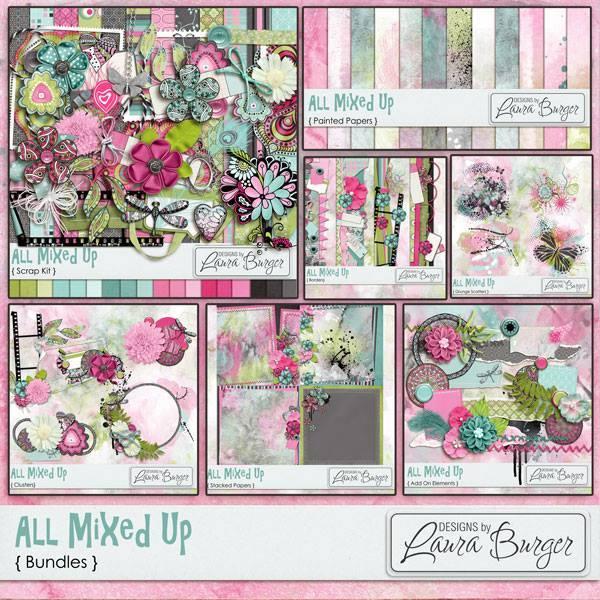 All Mixed Up Bundle Digital Art - Digital Scrapbooking Kits