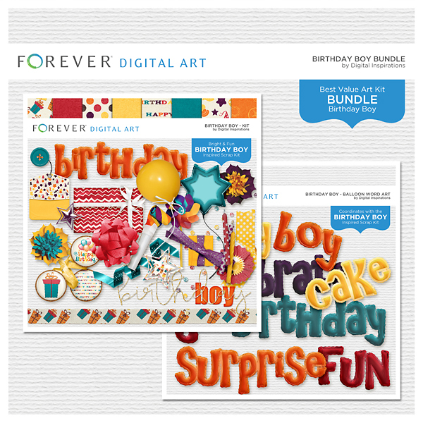 Birthday Boy Bundle Digital Art - Digital Scrapbooking Kits