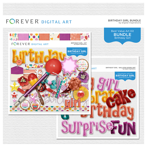 Birthday Girl Bundle Digital Art - Digital Scrapbooking Kits
