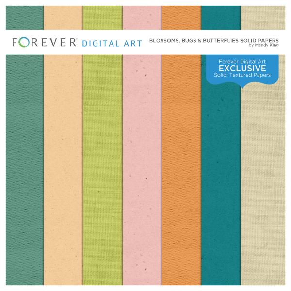 Blossoms, Bugs & Butterflies Solid Papers Digital Art - Digital Scrapbooking Kits
