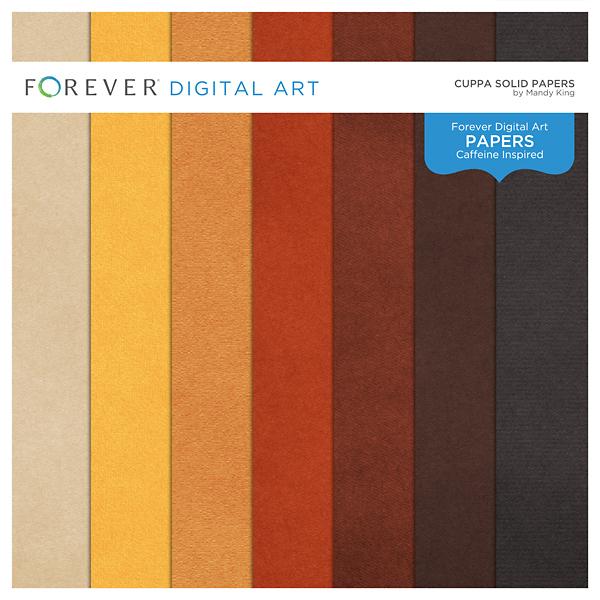 Cuppa Solid Papers Digital Art - Digital Scrapbooking Kits