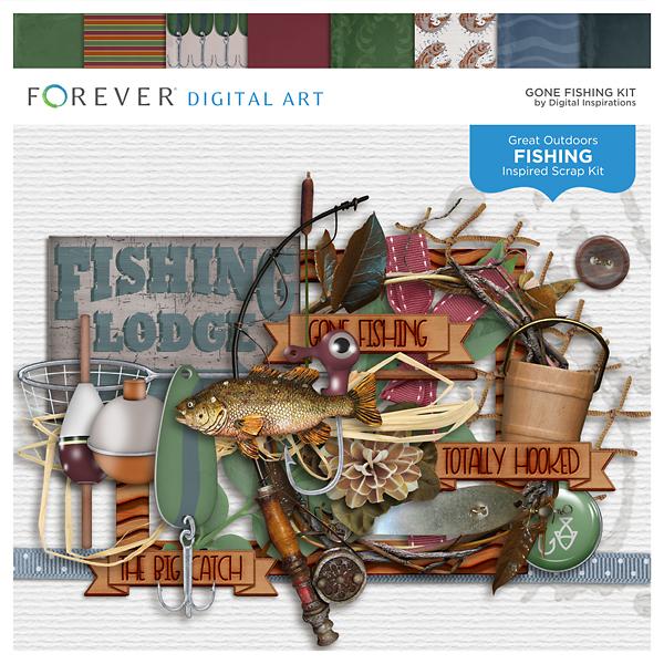 Gone Fishing Kit Digital Art - Digital Scrapbooking Kits
