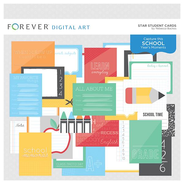 Star Student Cards Digital Art - Digital Scrapbooking Kits