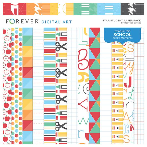 Star Student Paper Pack Digital Art - Digital Scrapbooking Kits