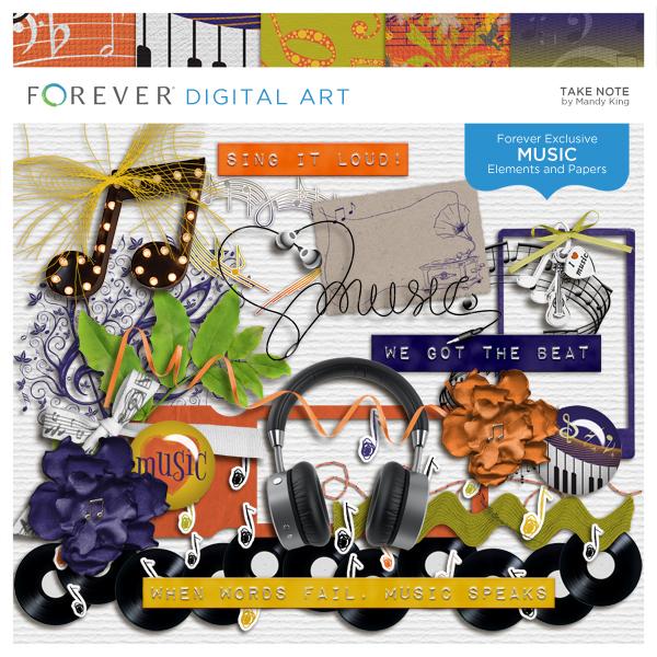 Take Note Digital Art - Digital Scrapbooking Kits