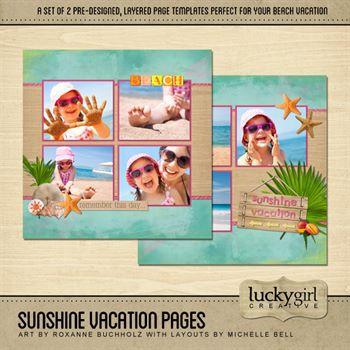 Sunshine Vacation Pre-designed Pages Digital Art - Digital Scrapbooking Kits