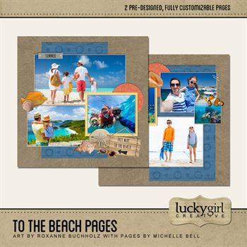 To The Beach Pages Digital Art - Digital Scrapbooking Kits