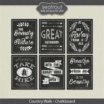 Country Walk Chalkboard Word Art Digital Art - Digital Scrapbooking Kits