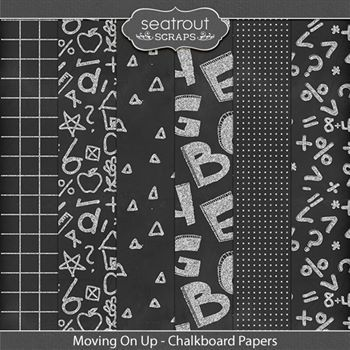 Moving On Up Chalkboard Papers Digital Art - Digital Scrapbooking Kits