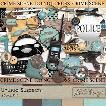 Usual Suspects Scrap Kit Digital Art - Digital Scrapbooking Kits