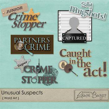 Usual Suspects Word Art Digital Art - Digital Scrapbooking Kits