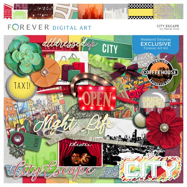 City Escape Digital Art - Digital Scrapbooking Kits