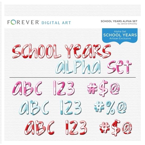 School Years Alpha Set Digital Art - Digital Scrapbooking Kits