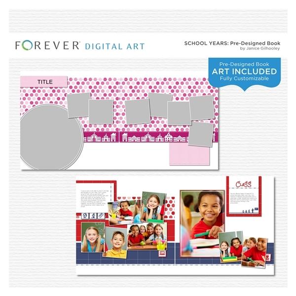 School Years Pre-designed Book Digital Art - Digital Scrapbooking Kits
