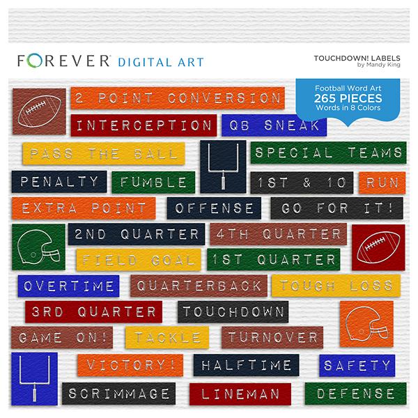 Touchdown! Labels Digital Art - Digital Scrapbooking Kits
