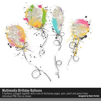 Multimedia Birthday Balloons Digital Art - Digital Scrapbooking Kits