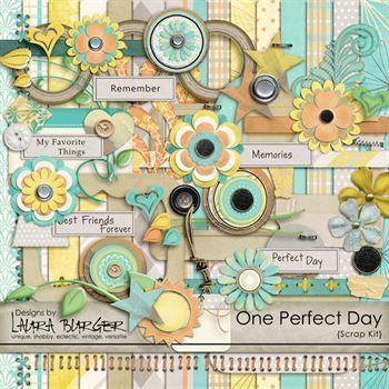 One Perfect Day Scrap Kit Digital Art - Digital Scrapbooking Kits