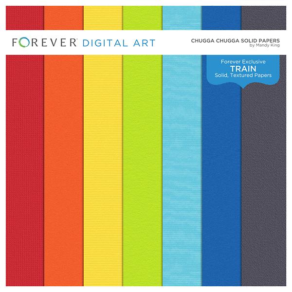 Chugga Chugga Solid Papers Digital Art - Digital Scrapbooking Kits