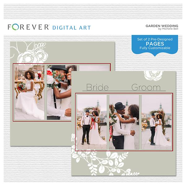 Garden Wedding Pre-designed Pages Digital Art - Digital Scrapbooking Kits