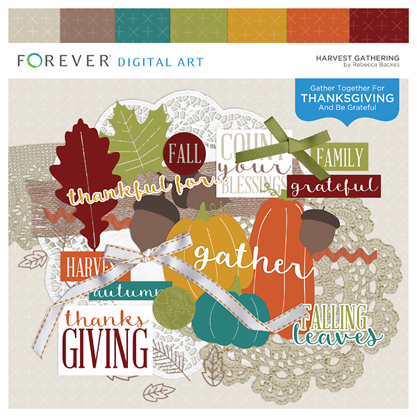 Harvest Gathering Digital Art - Digital Scrapbooking Kits