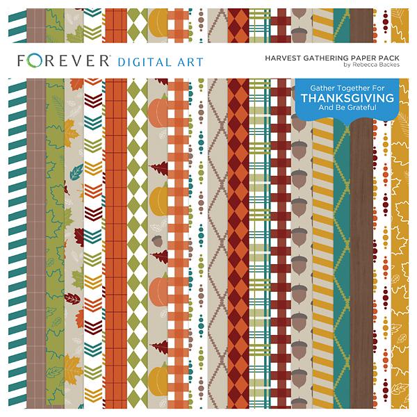 Harvest Gathering Paper Pack Digital Art - Digital Scrapbooking Kits