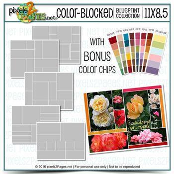 11x8.5 Color-blocked Blueprint Collection Digital Art - Digital Scrapbooking Kits