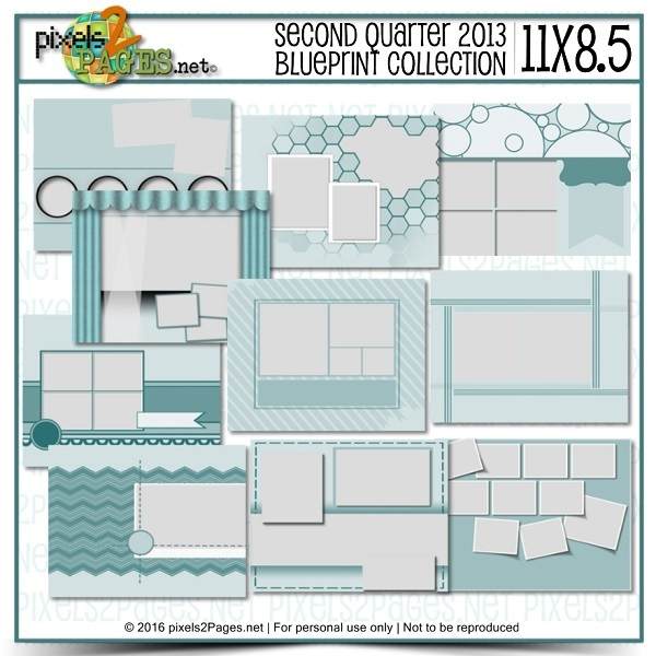 11x8.5 Second Quarter 2013 Blueprint Collection Digital Art - Digital Scrapbooking Kits