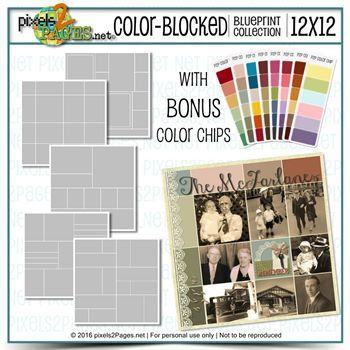12x12 Color-blocked Blueprint Collection Digital Art - Digital Scrapbooking Kits