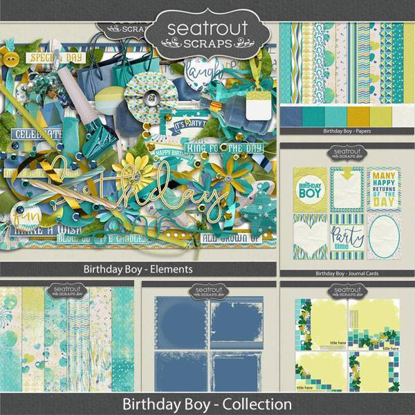 Birthday Boy Discounted Bundle Digital Art - Digital Scrapbooking Kits