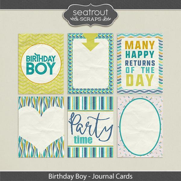 Birthday Boy Journal Cards Digital Art - Digital Scrapbooking Kits