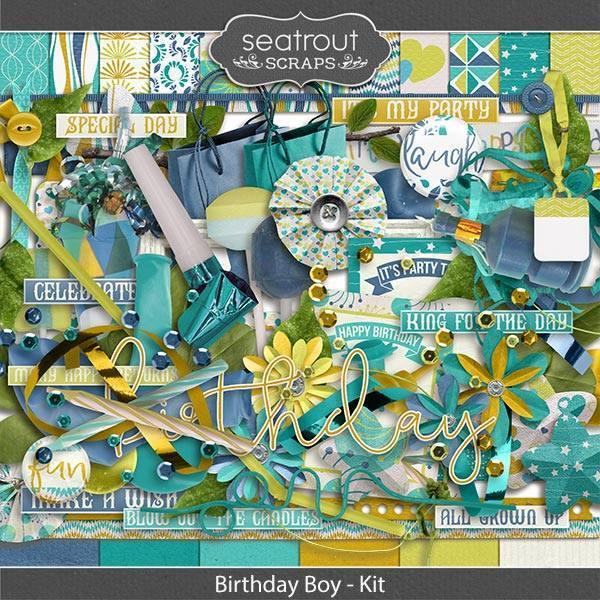 Birthday Boy Kit Digital Art - Digital Scrapbooking Kits