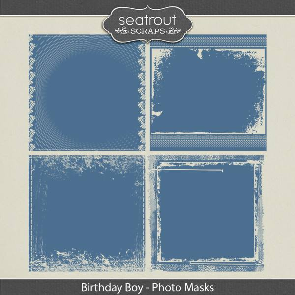 Birthday Boy Photo Masks Digital Art - Digital Scrapbooking Kits