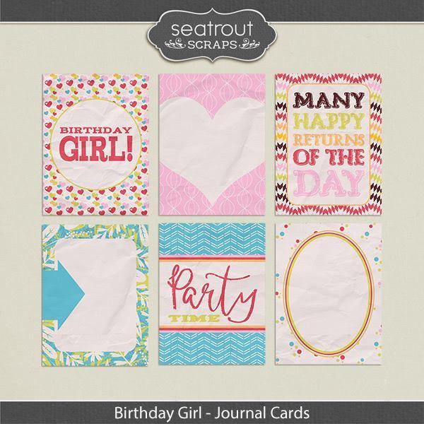 Birthday Girl Journal Cards Digital Art - Digital Scrapbooking Kits