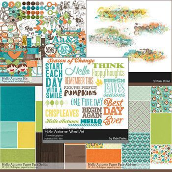 Hello Autumn Complete Scrapbooking Collection Digital Art - Digital Scrapbooking Kits