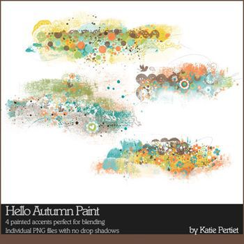 Hello Autumn Paint Digital Art - Digital Scrapbooking Kits