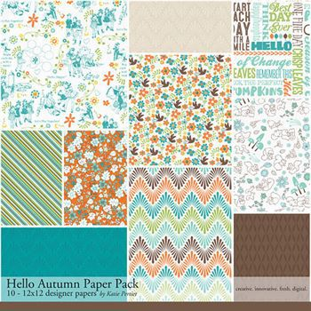 Hello Autumn Paper Pack Digital Art - Digital Scrapbooking Kits
