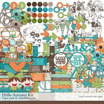 Hello Autumn Scrapbook Kit Digital Art - Digital Scrapbooking Kits