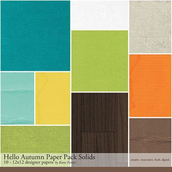 Hello Autumn Solids Paper Pack Digital Art - Digital Scrapbooking Kits