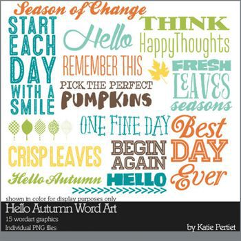 Hello Autumn Word Art Brushes And Stamps Digital Art - Digital Scrapbooking Kits