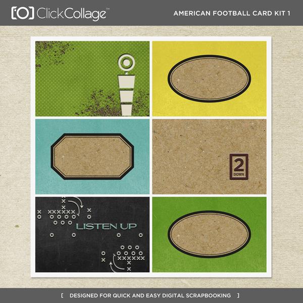 American Football Card Kit 1 Digital Art - Digital Scrapbooking Kits