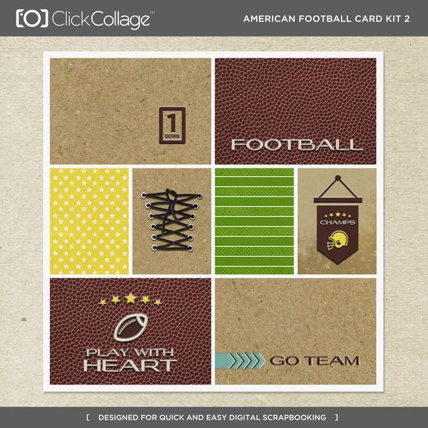 American Football Card Kit 2 Digital Art - Digital Scrapbooking Kits