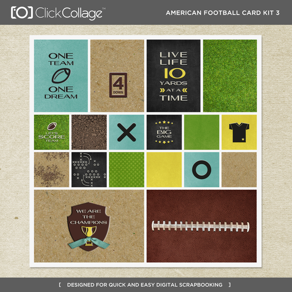 American Football Card Kit 3 Digital Art - Digital Scrapbooking Kits