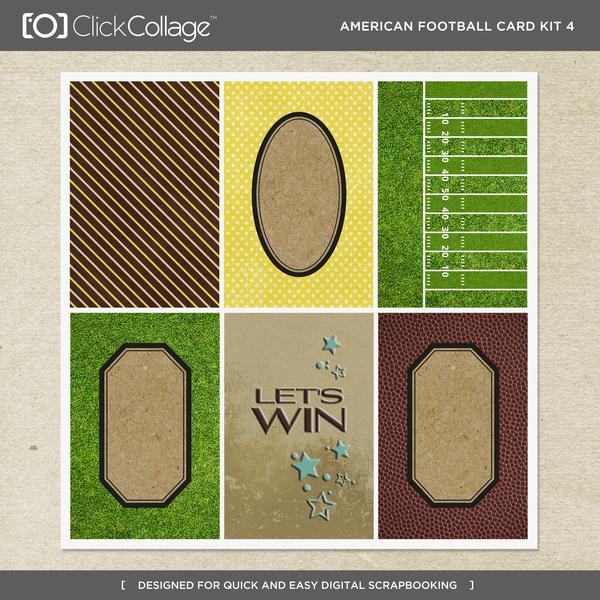 American Football Card Kit 4 Digital Art - Digital Scrapbooking Kits