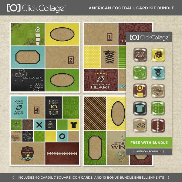 American Football Card Kit Bundle Digital Art - Digital Scrapbooking Kits