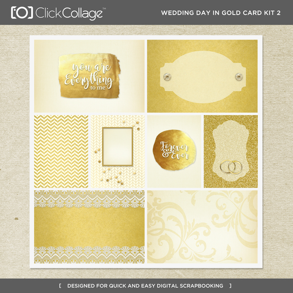Wedding Day In Gold Card Kit 2 Digital Art - Digital Scrapbooking Kits