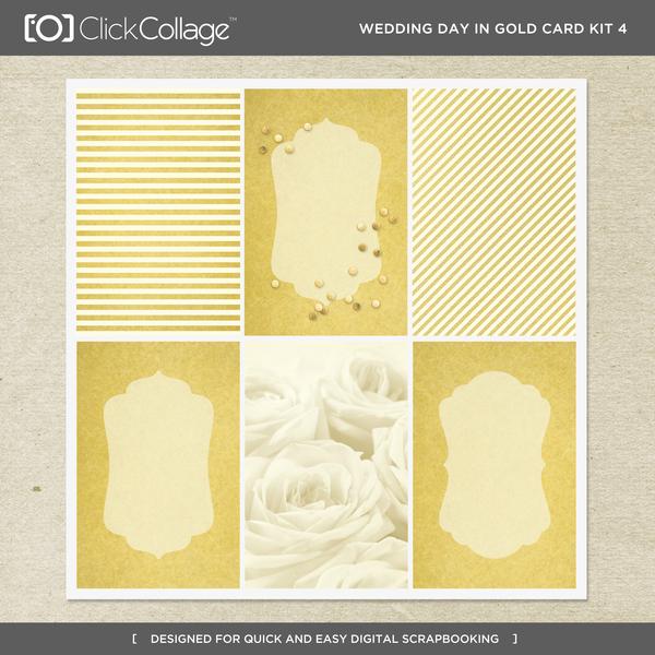 Wedding Day In Gold Card Kit 4 Digital Art - Digital Scrapbooking Kits