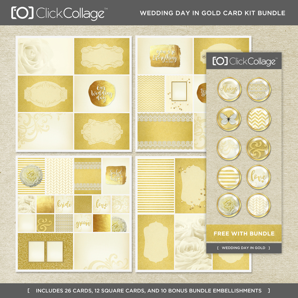 Wedding Day In Gold Card Kit Bundle