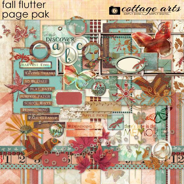 Fall Flutter Page Pak Digital Art - Digital Scrapbooking Kits